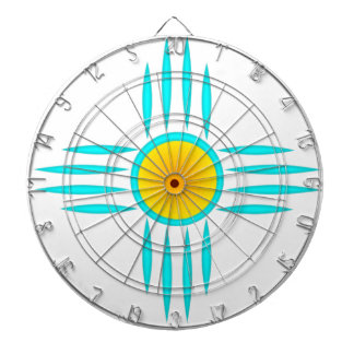 Turquoise Sun God Dartboard With Darts