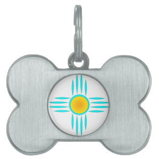 Turquoise Sun God Pet ID Tag