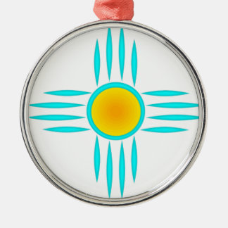 Turquoise Sun God Silver-Colored Round Ornament