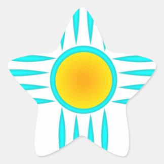 Turquoise Sun God Star Sticker