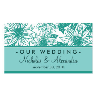 Turquoise Sunflowers Wedding Website Card Business Card
