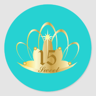 Turquoise Sweet 15 Tiara Sticker-Customize Round Sticker