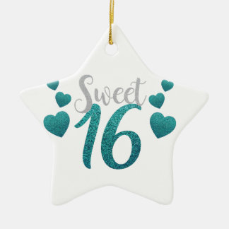Turquoise Sweet Sixteen Hearts Ceramic Star Ornament