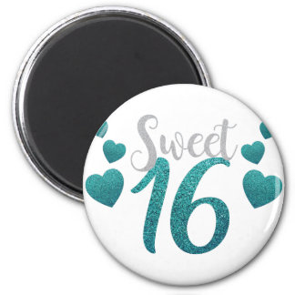 Turquoise Sweet Sixteen Hearts Magnet