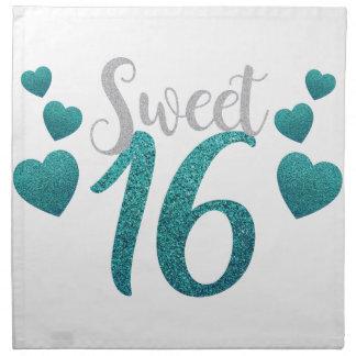 Turquoise Sweet Sixteen Hearts Napkin