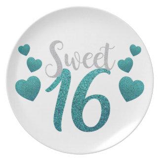 Turquoise Sweet Sixteen Hearts Plate