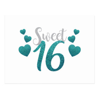 Turquoise Sweet Sixteen Hearts Postcard