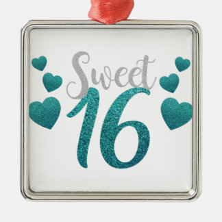 Turquoise Sweet Sixteen Hearts Silver-Colored Square Ornament