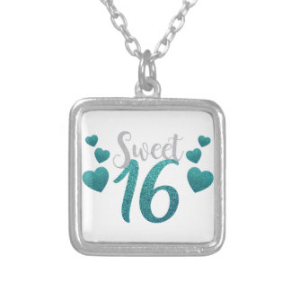 Turquoise Sweet Sixteen Hearts Silver Plated Necklace
