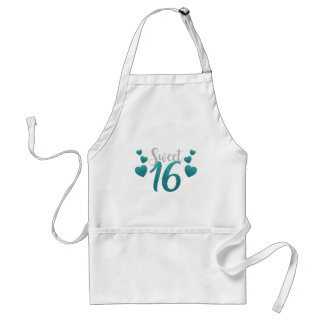 Turquoise Sweet Sixteen Hearts Standard Apron