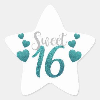 Turquoise Sweet Sixteen Hearts Star Sticker