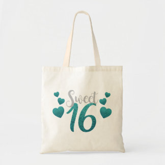 Turquoise Sweet Sixteen Hearts Tote Bag