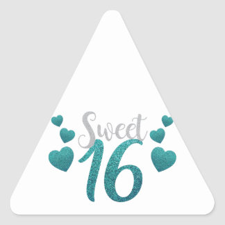 Turquoise Sweet Sixteen Hearts Triangle Sticker