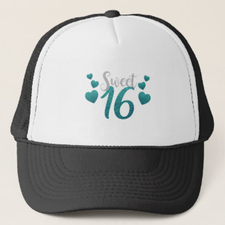 Turquoise Sweet Sixteen Hearts Trucker Hat