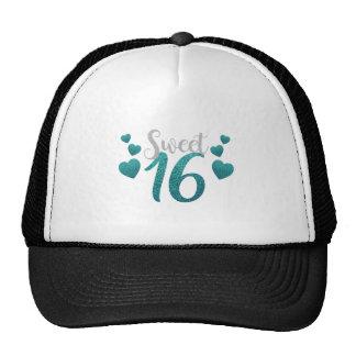 Turquoise Sweet Sixteen Hearts Trucker Hat