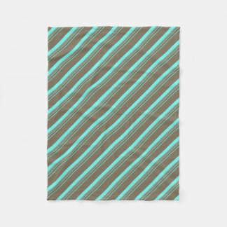 Turquoise Tan Striped Pattern Fleece Blanket