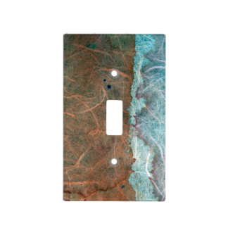 Turquoise Tan Vintage Wallpaper Abstract Light Switch Cover