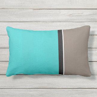 Turquoise Taupe Modern Lumbar Pillow