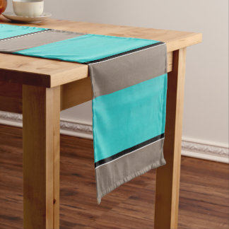 Turquoise Taupe Modern Short Table Runner