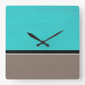Turquoise Taupe Modern Square Wall Clock
