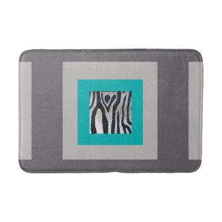 Turquoise, Taupe & Zebra Print Bath Mat