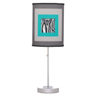 Turquoise, Taupe & Zebra Print Table Lamps