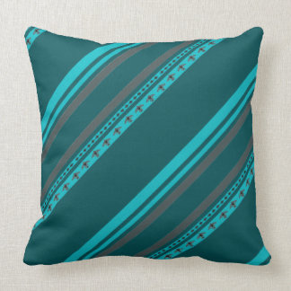 Turquoise Teal American Indian Stripe Throw Pillow