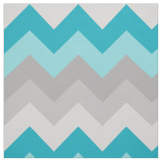 Turquoise Teal Blue Grey Gray Chevron Ombre Fabric