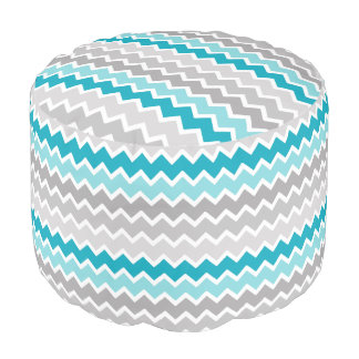 Turquoise Teal Blue Grey Gray Ombre Chevron Girl Pouf