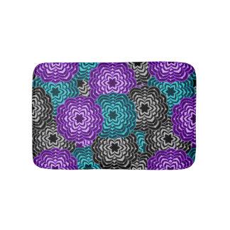 Turquoise Teal Blue Lavender Purple Grey Dahlia Bathroom Mat