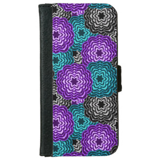 Turquoise Teal Blue Lavender Purple Grey Dahlia iPhone 6 Wallet Case