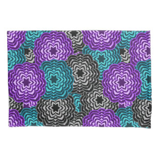Turquoise Teal Blue Lavender Purple Grey Dahlia Pillowcase