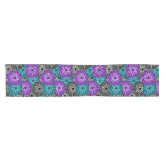 Turquoise Teal Blue Lavender Purple Grey Dahlia Short Table Runner