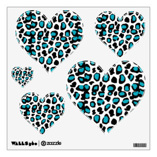Turquoise Teal Blue Leopard Animal Print Wall Sticker