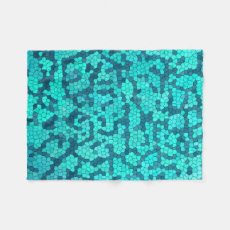 Turquoise Teal Blue Pattern Fleece Blanket