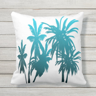 Turquoise Teal Fade Palm Trees Tropical Sunset Outdoor Pillow