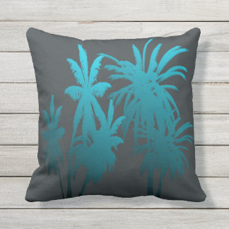 Turquoise Teal Fade Palm Trees Tropical Sunset Throw Pillow