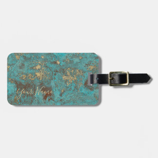 Turquoise Teal & Gold Copper Vintage Antique Luggage Tag