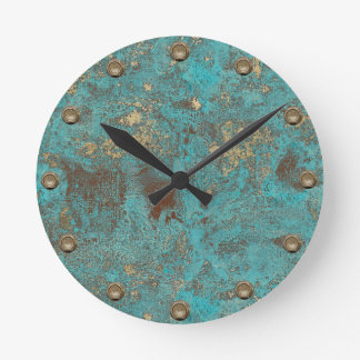 Turquoise Teal & Gold Copper Vintage Antique Round Clock