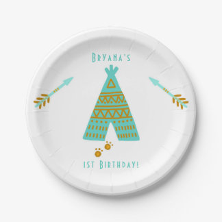 Turquoise Teal & Gold Tepee Modern Birthday Party Paper Plate