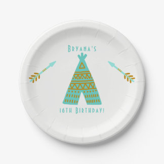 Turquoise Teal Gold Tepee Sweet 16 Birthday Party Paper Plate