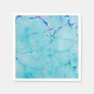 Turquoise Teal Marble Paint Abstract Watercolor Paper Napkins