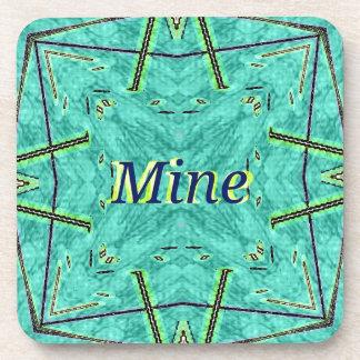 "Turquoise Teal Modern ""Mine"" Pattern Coaster"