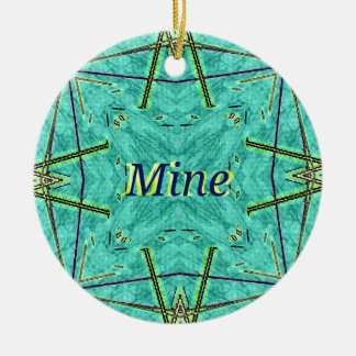 "Turquoise Teal Modern ""Mine"" Pattern Round Ceramic Ornament"