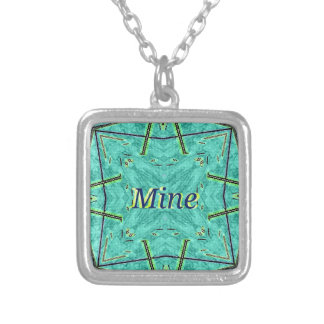 "Turquoise Teal Modern ""Mine"" Pattern Silver Plated Necklace"