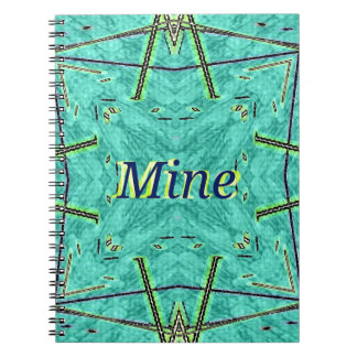 "Turquoise Teal Modern ""Mine"" Pattern Spiral Notebook"