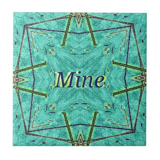 "Turquoise Teal Modern ""Mine"" Pattern Tile"