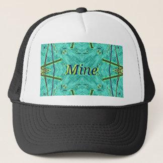 "Turquoise Teal Modern ""Mine"" Pattern Trucker Hat"