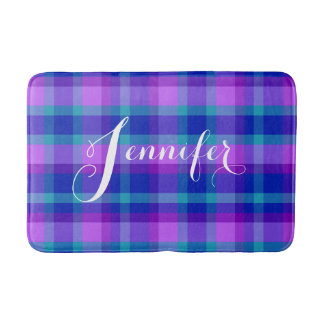 Turquoise Teal Navy Blue Purple Lavender Plaid Bathroom Mat