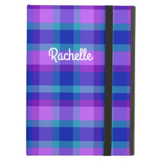 Turquoise Teal Navy Blue Purple Lavender Plaid Case For iPad Air